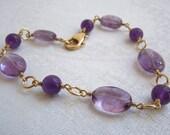 Purple Amethyst Bracelet: Lilac Gemstones- Gold Filled Wire