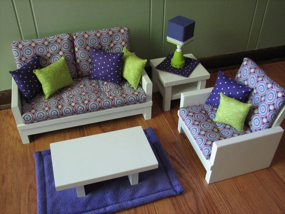 "18"" Doll Furniture - American Girl sized Living Room - Loveseat / Chair / Coffee & End Table / Lamp / Rug - Purple / Lime Green Medallion"