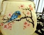 Hand Painted Bluebird and Cherry Blossom Clutch Purse - SongbirdBridal