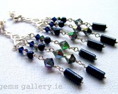 Lapis Lazuli and Swarovski Crystal Vitrial Earrings Sterling Silver Earrings - gemsgallery