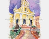 "Watercolor Sketch Print:  ""Old San Juan Cathedral"" - by Luis E. Aparicio - Garabateando"