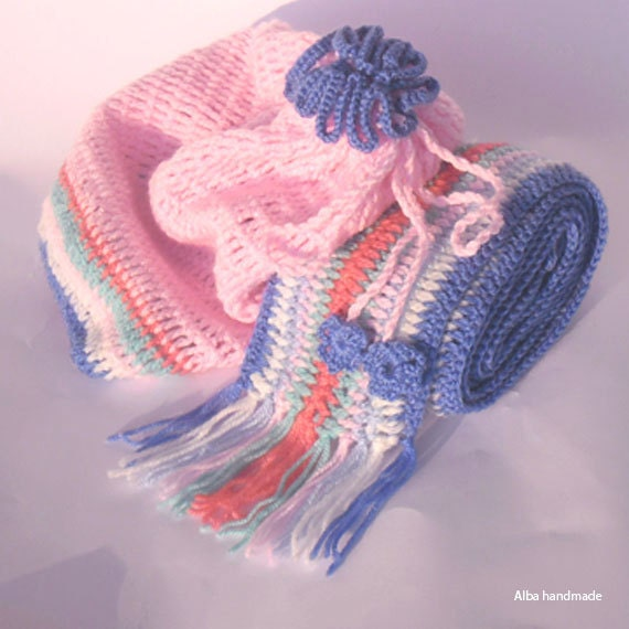Handmade crochet Hat and scarf set Girl set by Albahandmadeforyou Crochet Scarves And Hats