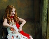 art portrait of a  red-haired girl siting near a wal, photography print,  room decor, gift, children, - tanyazelda