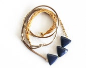 CROCHET TRIANGLES & CHAIN / mixed-media fiber necklace w/ blue porcelain triangles, gold crochet detail, silky taupe cord and chain - SOFTGOLDSTUDIO