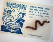 Realistic worm gag on original graphic card - thelovelyandstrange
