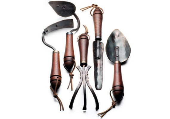 Fisher Blacksmithing Set of Five Hand Forged Garden Tools, Crafted in Bozeman, Montana