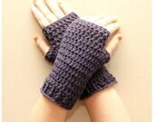 Crochet Fingerless Gloves, Plum - Candyworks