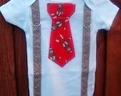 Red and Brown Sock Monkey Baby Boy, Tie Onesie with Suspenders - Birthday, Photo Prop, Baby Shower