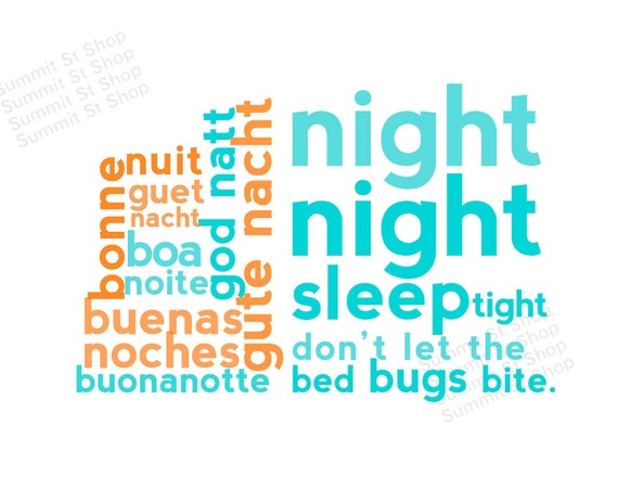 NIGHT Night Subway Art - Modern Childrens Nursery Art Decor DIGITAL PRINT - Orange & Teal - Languages