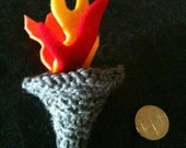 Hand knitted Olympic torch
