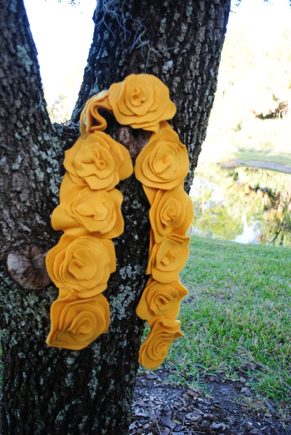 Handmade to Order Flower Fleece Scarf -- Choose Your Color
