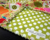 CIJ SALE 30% OFF Baby Girl Rag Blanket - Apple and Dot Print - susansalukcreates