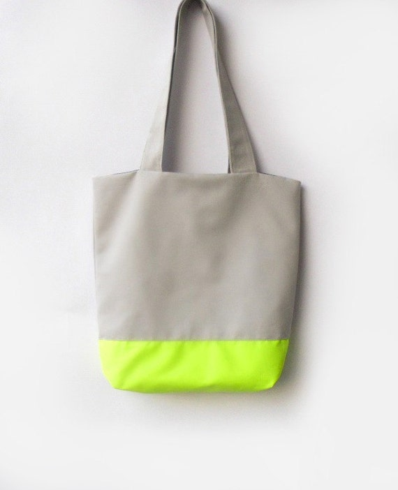 Neon Tote bag, Grey and Neon