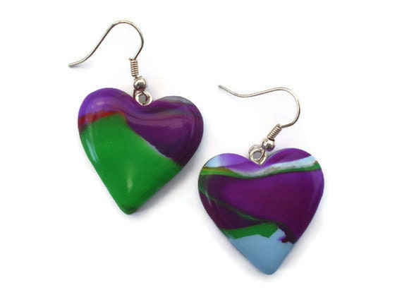 Heart drop earrings  Purple and Green Marble by KireinaJewellery |  Craft Juice :  prom fashion kireina jeweller quirky