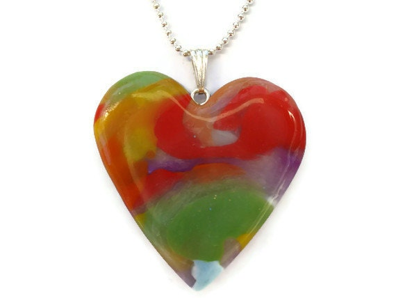 Heart pendant  Multi colored Marble Effect by KireinaJewellery |  Craft Juice from craftjuice.com