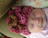 Brown and Pink Blend Flower Hat