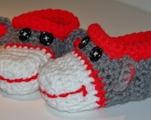 Sock Monkey Baby Slippers - Handmade, Crocheted, Fun, Gray, Red & White