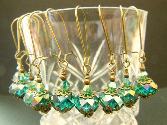 BRIDESMAIDS EARRINGS set of 5 teal peacock vintage earrings