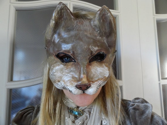 Halloween papier mache animal mask cat mask Catwoman