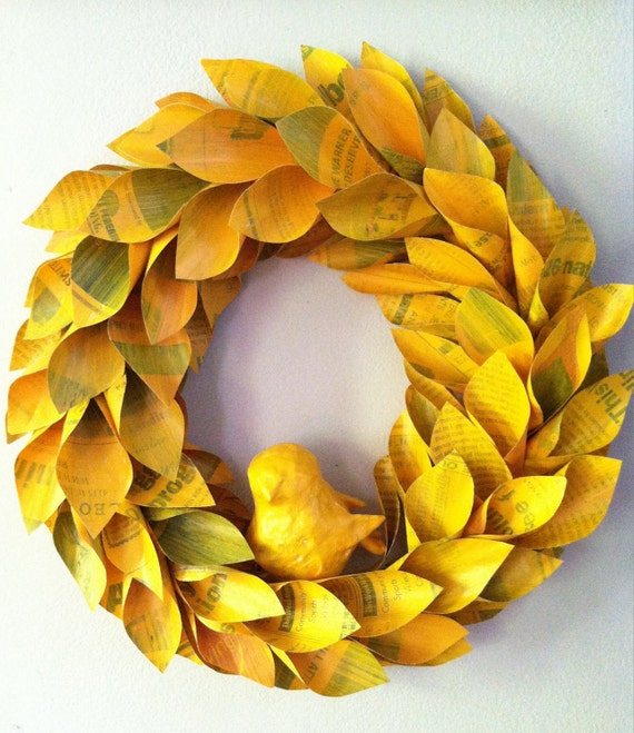 fall paper wreath - yellow newspaper and paper mache bird - 13 in
