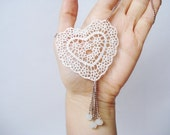 Lace Necklace, Women accessory,  Ivory Heart Necklace - bytugce