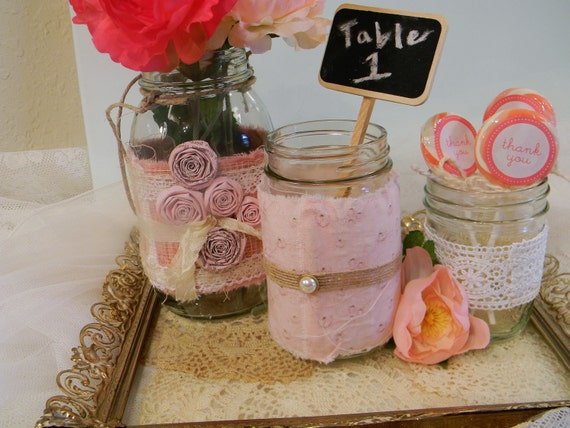 Upcycled Pink Mason Jars/ Wedding Centerpieces