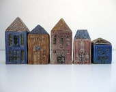 Miniature  House.Ceramic house. Mediterranean village house.OOAK - BlueMagpieDesign