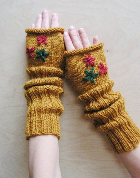 دست دستکش زنان Fingerless با دوزی تزئین خردل سبز زنگ کنیتد