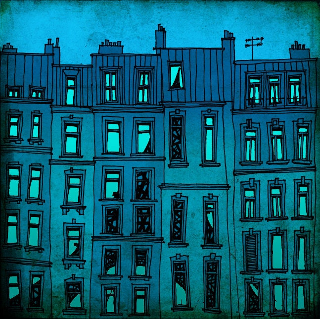 Paris facade Paris illustration art printParis Fine by tubidu