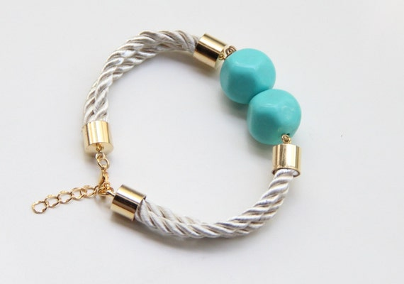 ON SALE: Gold White Silk cord Bracelet with 2 Teal Turquoise vintage beads - 24k gold plated