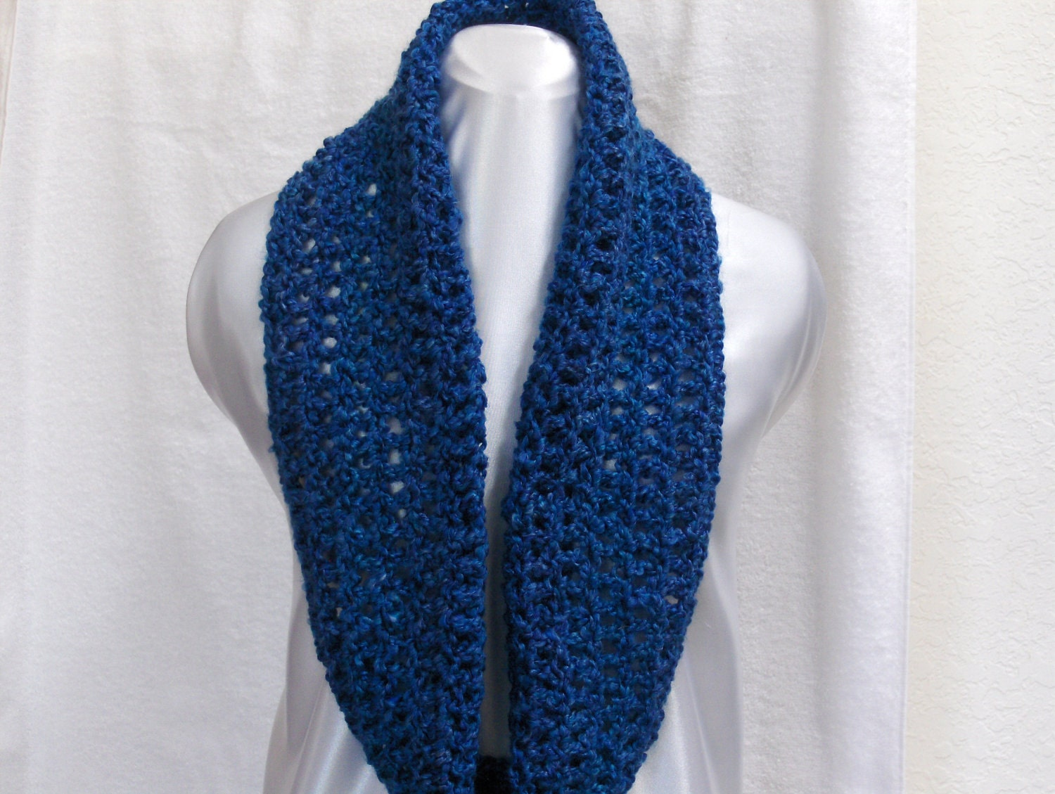 Crochet Cowl Neck Warmer Infinity Scarf Blue by ScarfShack on Etsy Cowl Neck Scarves Crochet