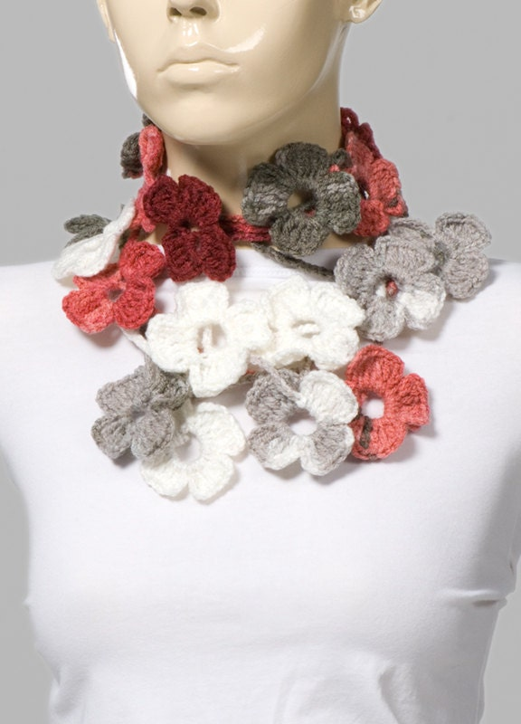 ON SALE Holiday Crochet SCarf Valentines Scarf Crochet belt White  Crochet Scarves For Sale