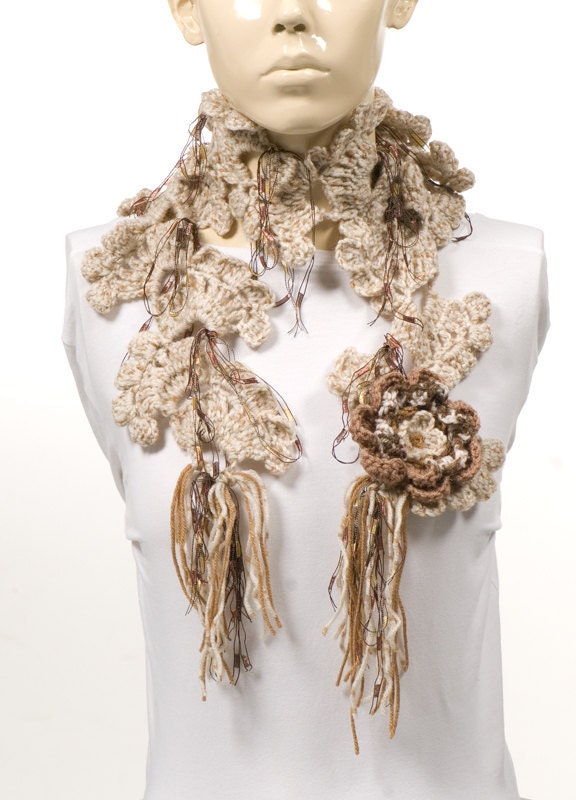 ON SALE For her Cream brown Scarf Crochet Scarf by CROCHETTT Crochet Scarves For Sale
