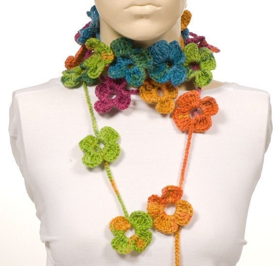 ON SALE Colorful Scarf Crochet SCarf Flowers Scarf Crochet belt  Crochet Scarves For Sale