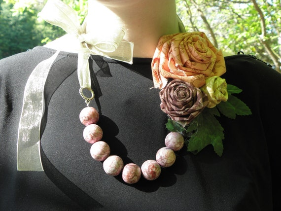 Shabby Chic inspired Fabric Flower Necklace