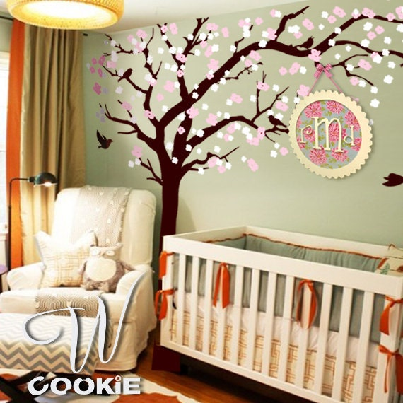 Cherry blossom tree with birds  - Nursery Tree Wall Decal