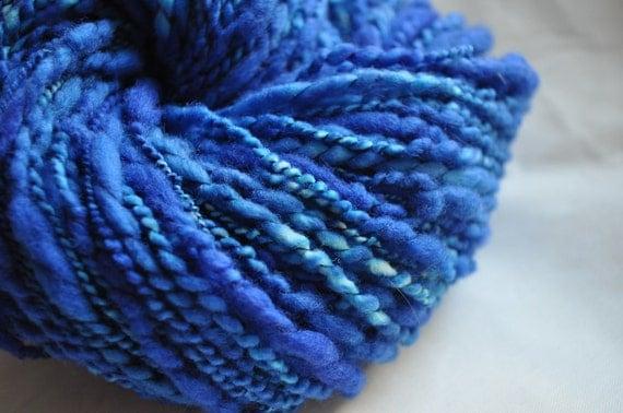 Handspun Yarn - Deep Blue Sea - Vibrant Blue - thread plied
