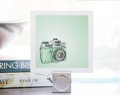 Mini Print - Mint Green Holga Portrait - 3 x 3 Archival Matte - Digital Illustration - DieselAndJuice