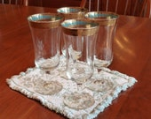 BLACK FRIDAY ETSY- Vintage Parfait Glasses, Gold Band, Set of 4, ooak - MercysVintageHome
