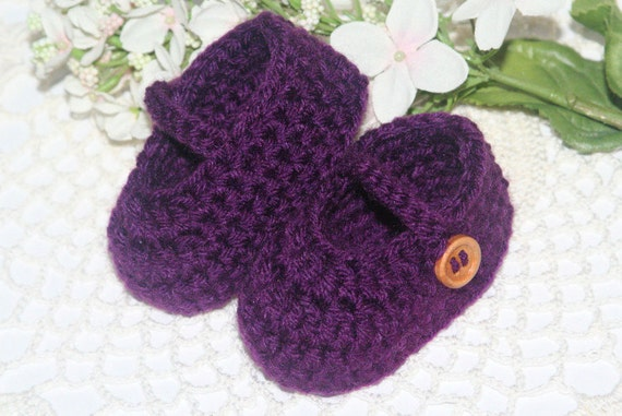 Crocheted Baby Booties - Mary Jane, 0/3 Months - Handmade Baby Shoes in Purple