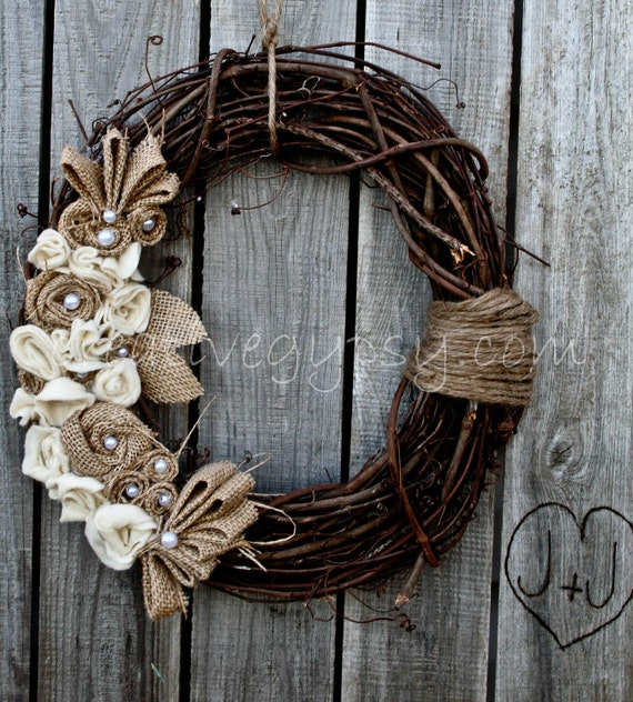 Limited Offer Rustic Burlap, Ivory and Jute Wreath LOVE