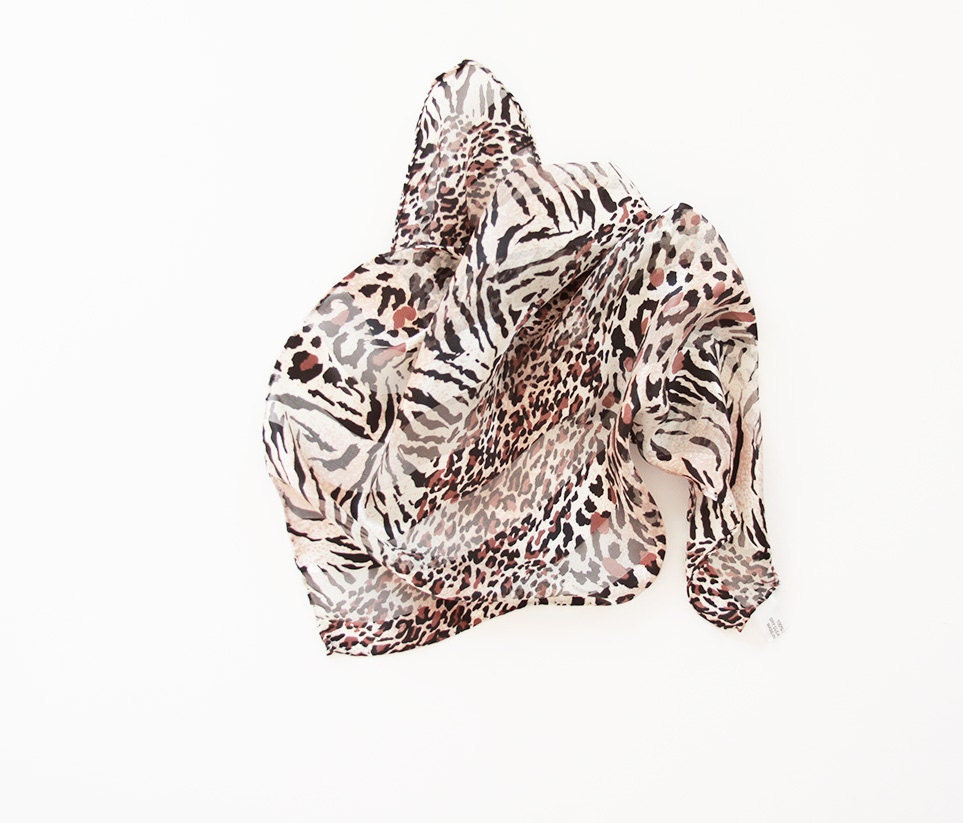Vintage Silk Scarf by Preview Collection  Hand Rolled Brown leopard  Washing Vintage Silk Scarves