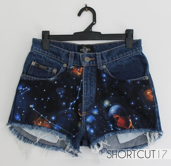 Vintage High Waisted GALAXY Planet Constellation Cut Off Shorts with Exposed Pockets & Metallic Paint, Space Odyssey Collection, XXS