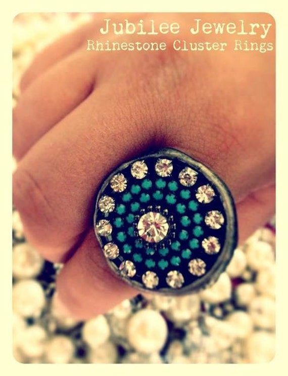 Turquoise Rhinestone Cluster Wax Seal Stamp Ring