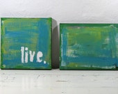 Typographic Art. Mixed Media Paintings. Green and Blue. Set of two.