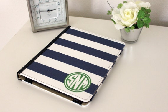 Monogrammed iPad cover - Stripe Personalized YOU CHOOSE DESIGN