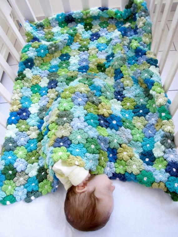 Crochet Floral Baby Blanket - PDF Pattern