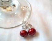 Beautiful Red and Black Diamond Glass Pearl & Rondelle Earrings
