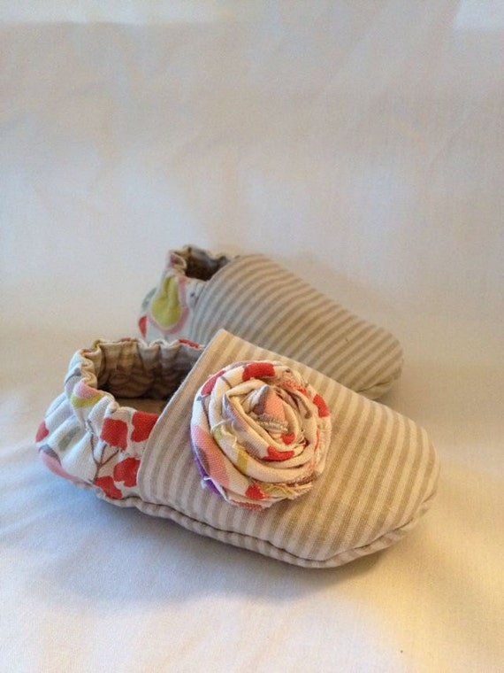 Goody Two Shoes, embellished with baby rosette,  available to order in sizes 0-18 months