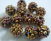 14mm Golden AB rhinestone resin beads 12pc basketball wives